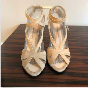 EUC COSTUME NATIONAL nude Suede Heel Sandals Sz 39